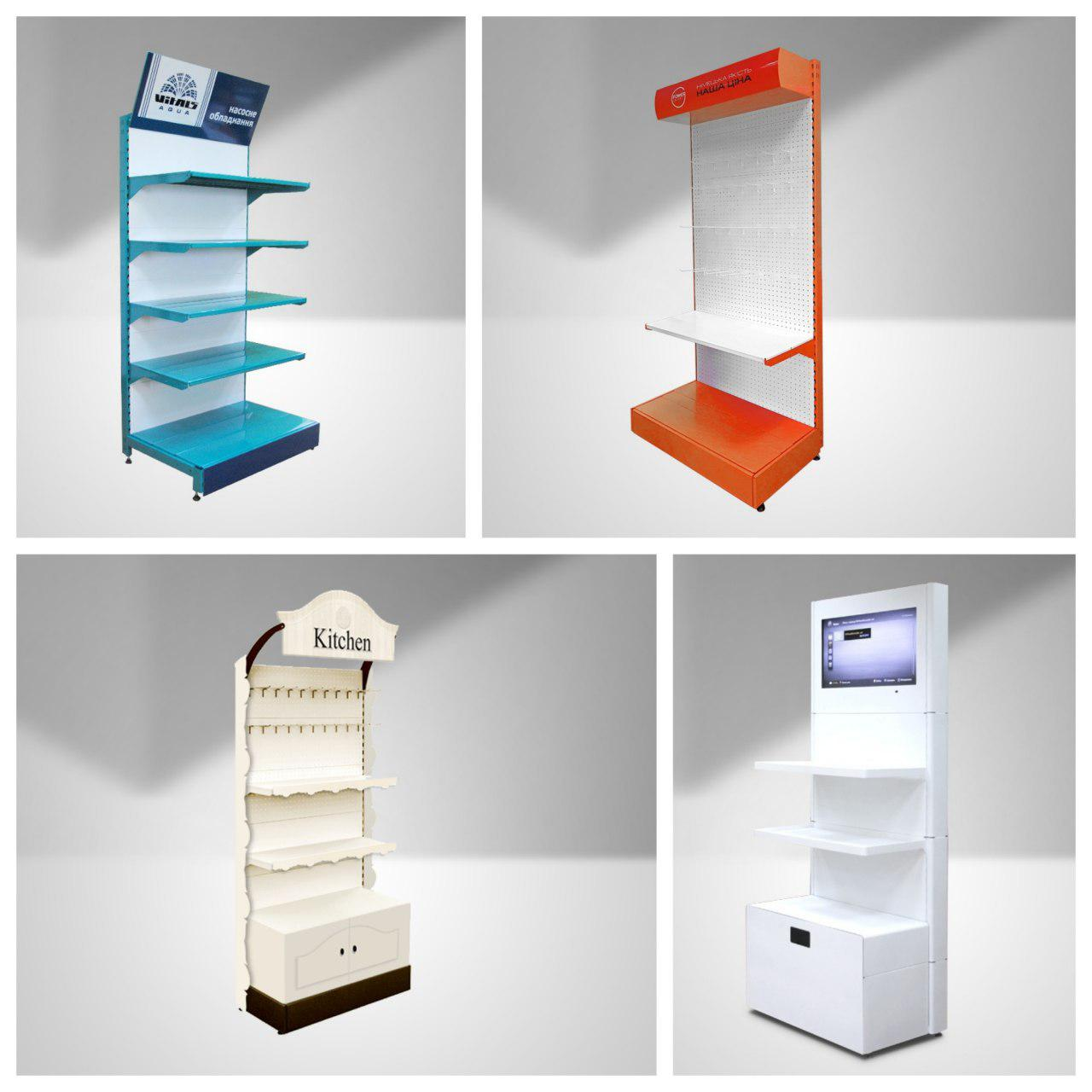 How to choose the form and color for retail display system [shelving units, showcases, counters]